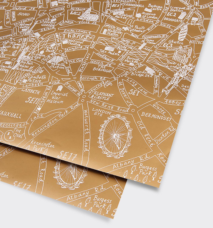 London Gold Metallic Map Gift Wrap   London   Pinterest   London ...