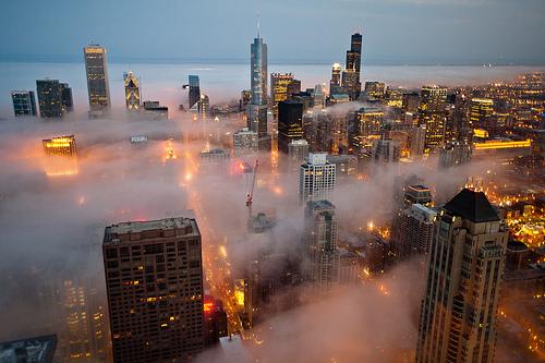 Foggy Night, Chicago, Illinois photo via snowcone