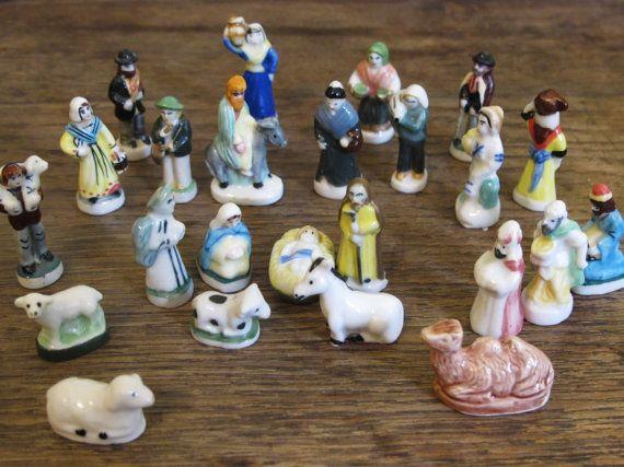Completed Advent Nativity Scene. 25 Tiny Vintage French Porcelain feve. Santon .Nativity set. Vintage French miniature figurines  .