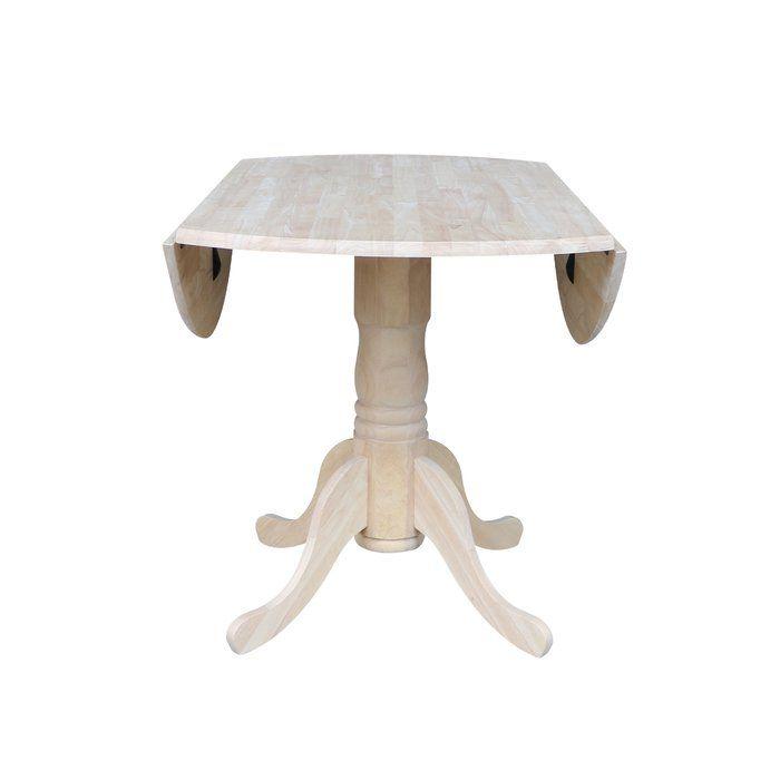 Boothby Drop Leaf Rubberwood Solid Wood Pedestal Dining Table Dining Table Pedestal Dining Table Drop Leaf Table