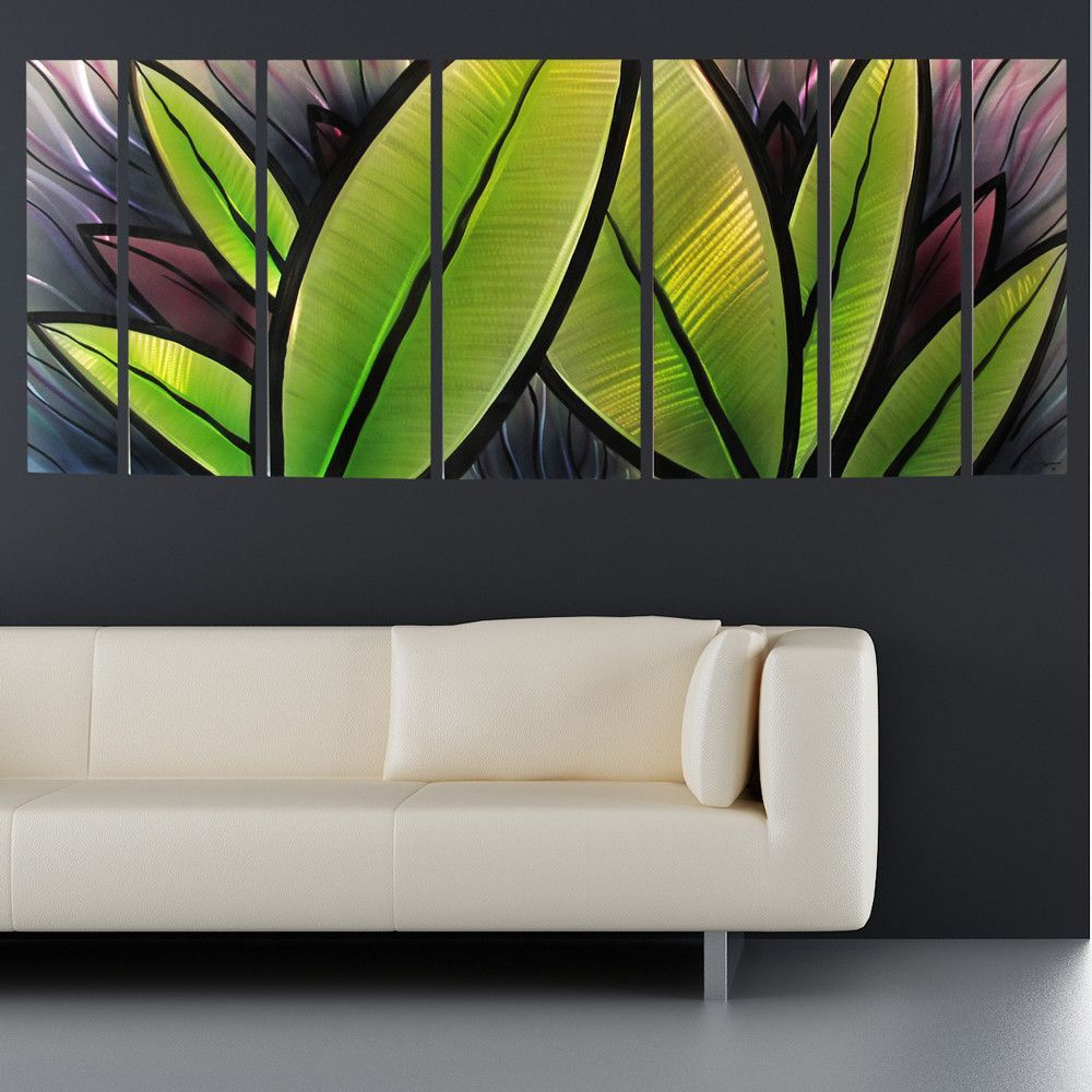 Abstract metal wall art with leaves in watercolor with