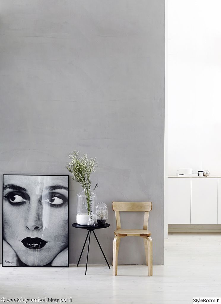 neutral clean gray walls is perfect for art and workspace