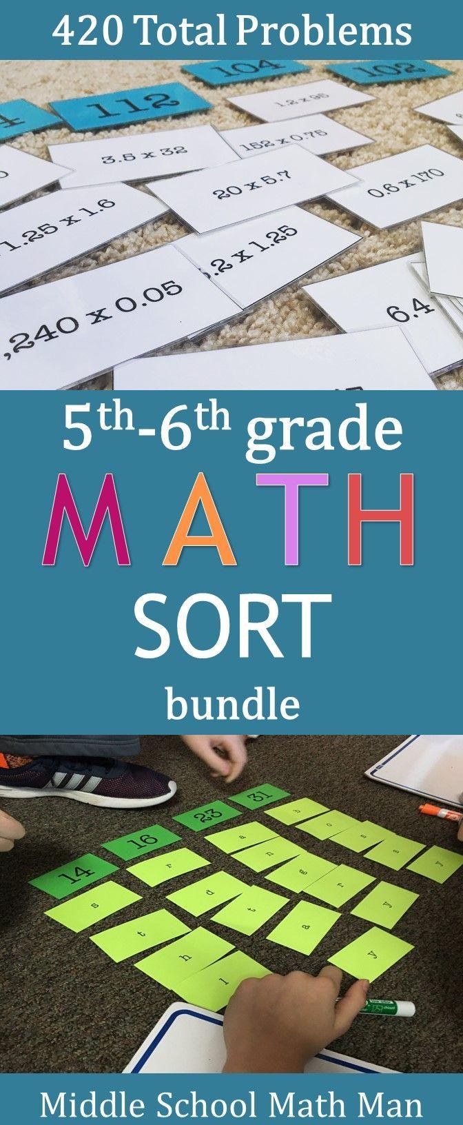 Math Sort Bundle (For Upper Grades)   Pinterest   Dividing decimals ...