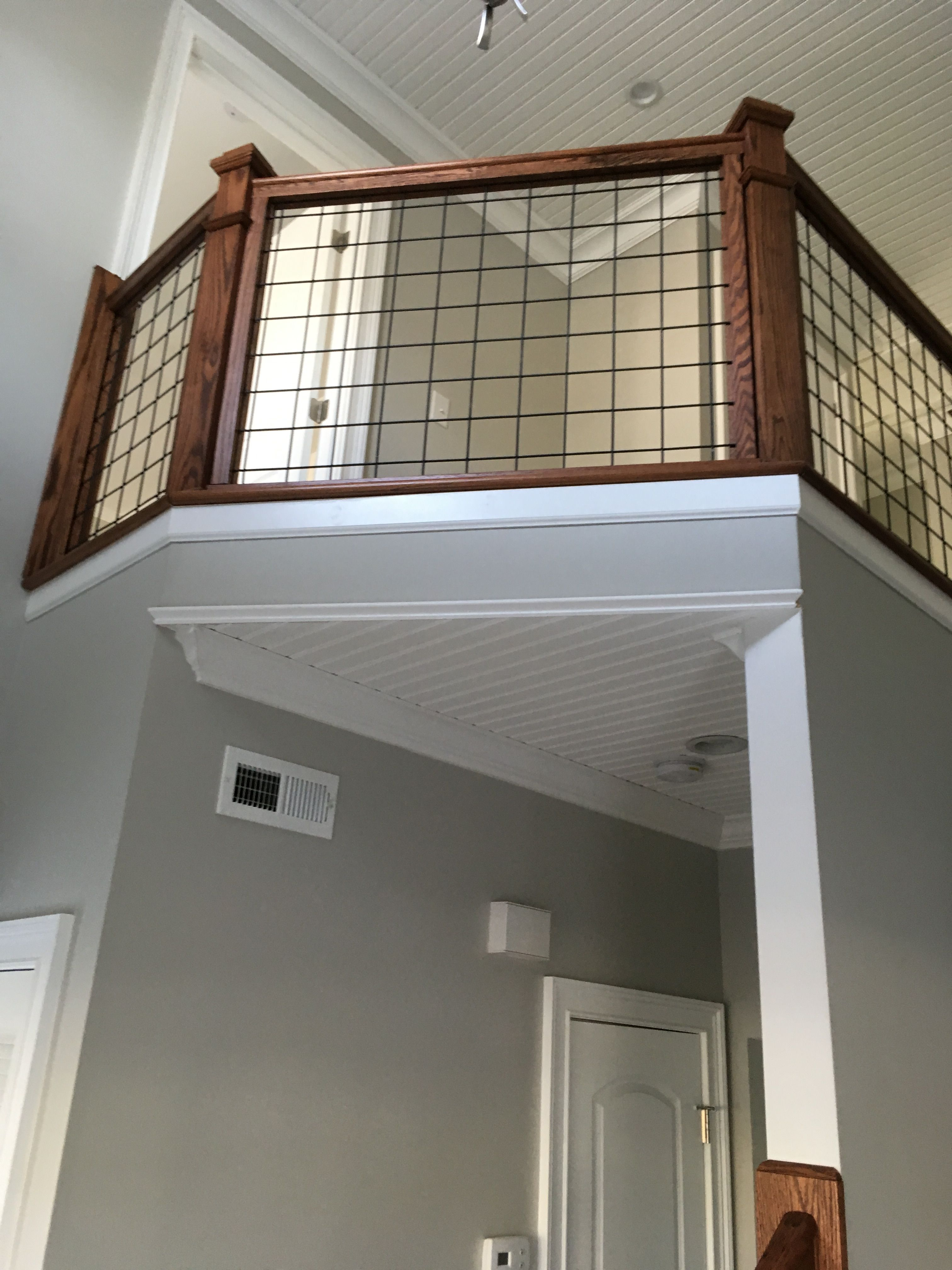 Best 1St Floor View Stair Rail With Hogwire Stair Railing 400 x 300