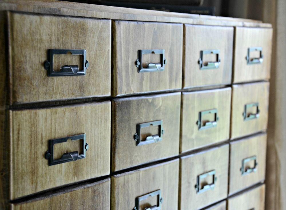 basil green pencil: DIY: Faux Card Catalog Cabinet