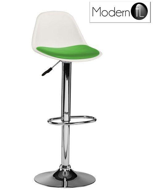 Green Tulip Style Swivel Bar Stool Retro White Bar Stool With Green Seat White Bar Stools Swivel Bar Stools Bar Stools