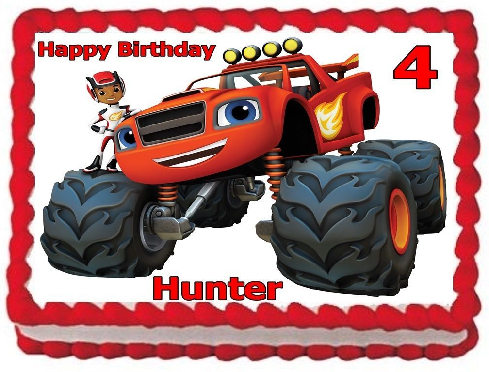 1275 Blaze And The Monster Machine Edible Cake Topper Birthday