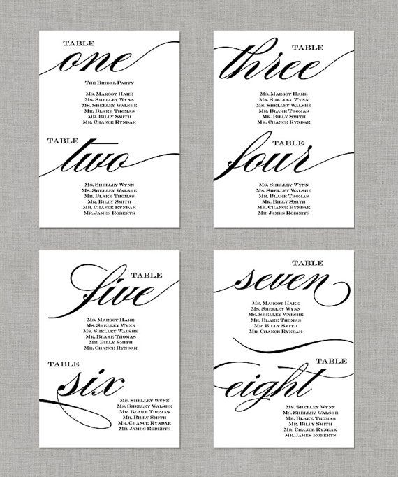 Printable Seating Chart For Wedding Reception: Wedding Seating Chart Table Numbers