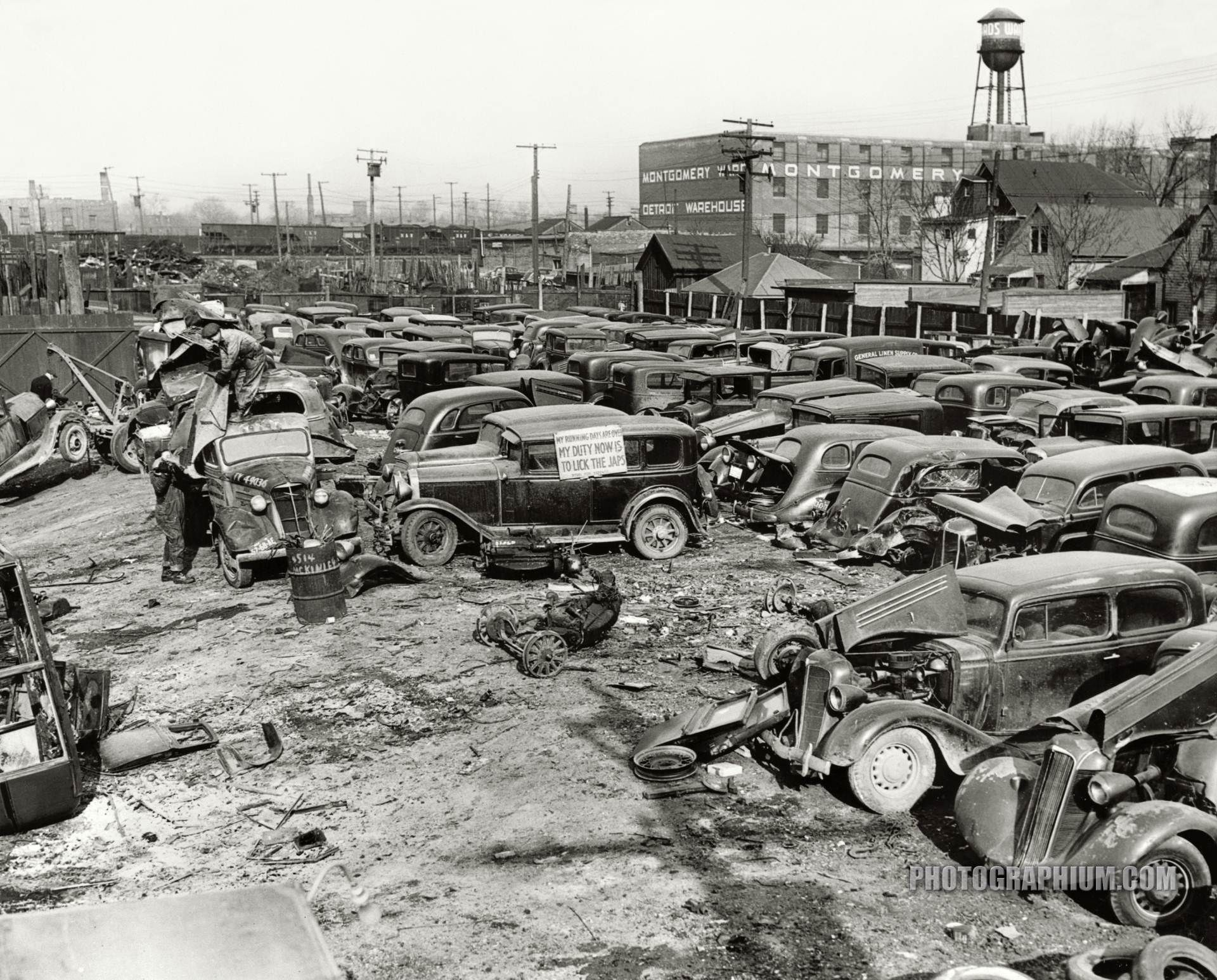 A Detroit Auto Graveyard Junked Autos And Trucks To Be