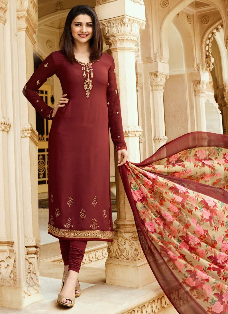 8884c06366b Buy Prachi Desai Dark Brown Embroidered Straight Suit online