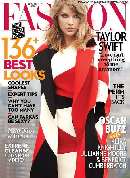 """""""@FashionCanada: The gorgeous @taylorswift13 is on our November cover! : http://stjo.es/1E9gppV """" SWIFTOBER!"""