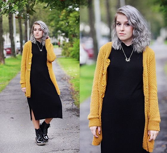 Sarianna V - Vila Black Knit Dress, H&M Yellow Cardigan, Dr ...