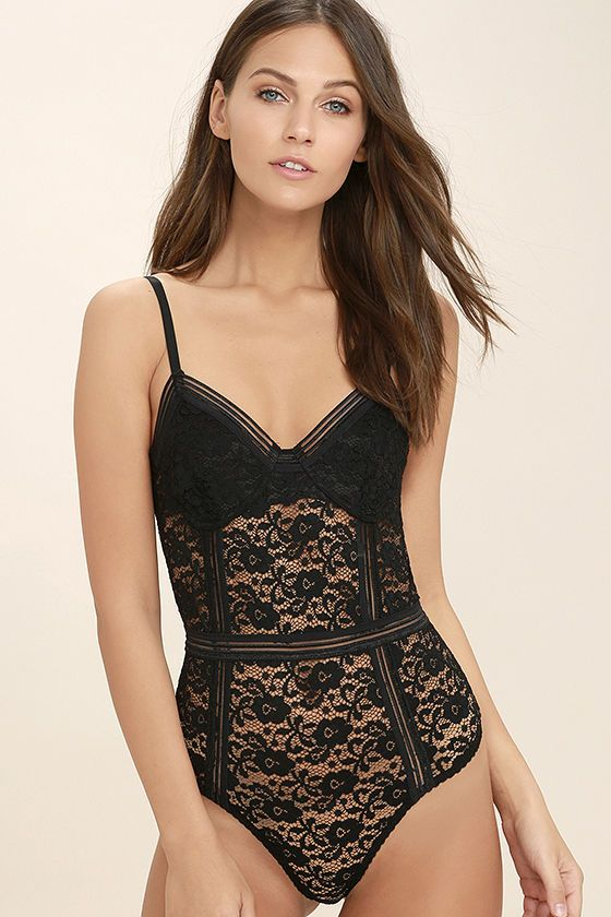 f380f49d96 Show off your sexy side in the Lady Marmalade Black Lace Bodysuit! Sheer  stretch lace