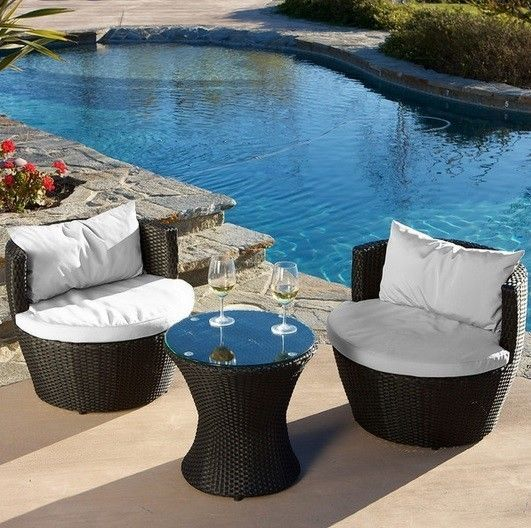 patio chat set 3pc stacking wicker garden seating furniture deck poolside