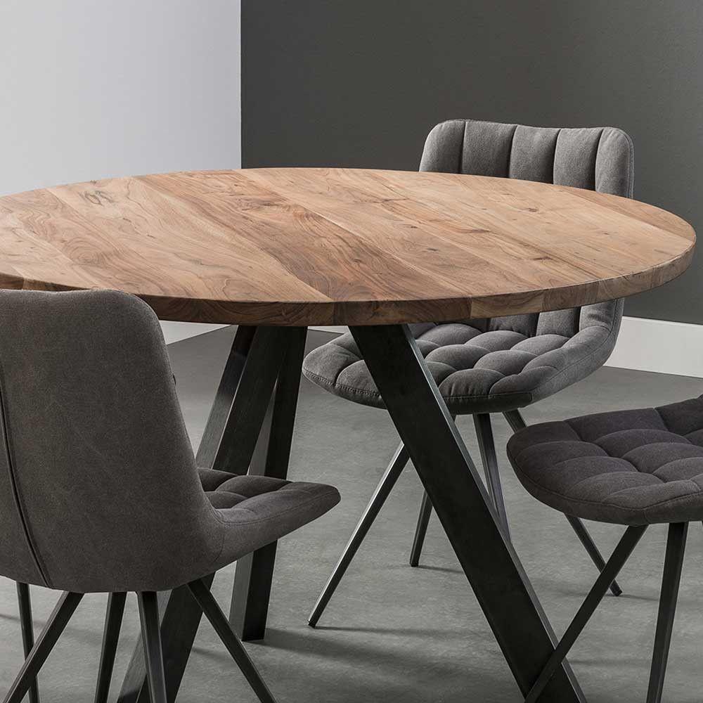 Runder Esstisch Karyon aus Akazie Massivholz im Loft Style ...