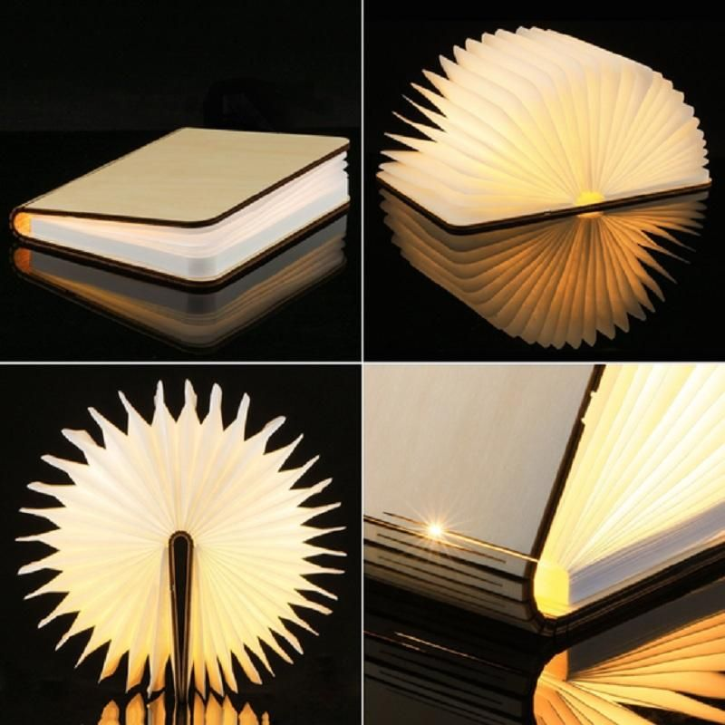 Magnetic Foldable Wooden Book Lamp This Innovative Magnetic Rechargeable And Foldable Wooden Book Shaped Lamp Is The Perf Book Lamp Book Lights Wooden Light