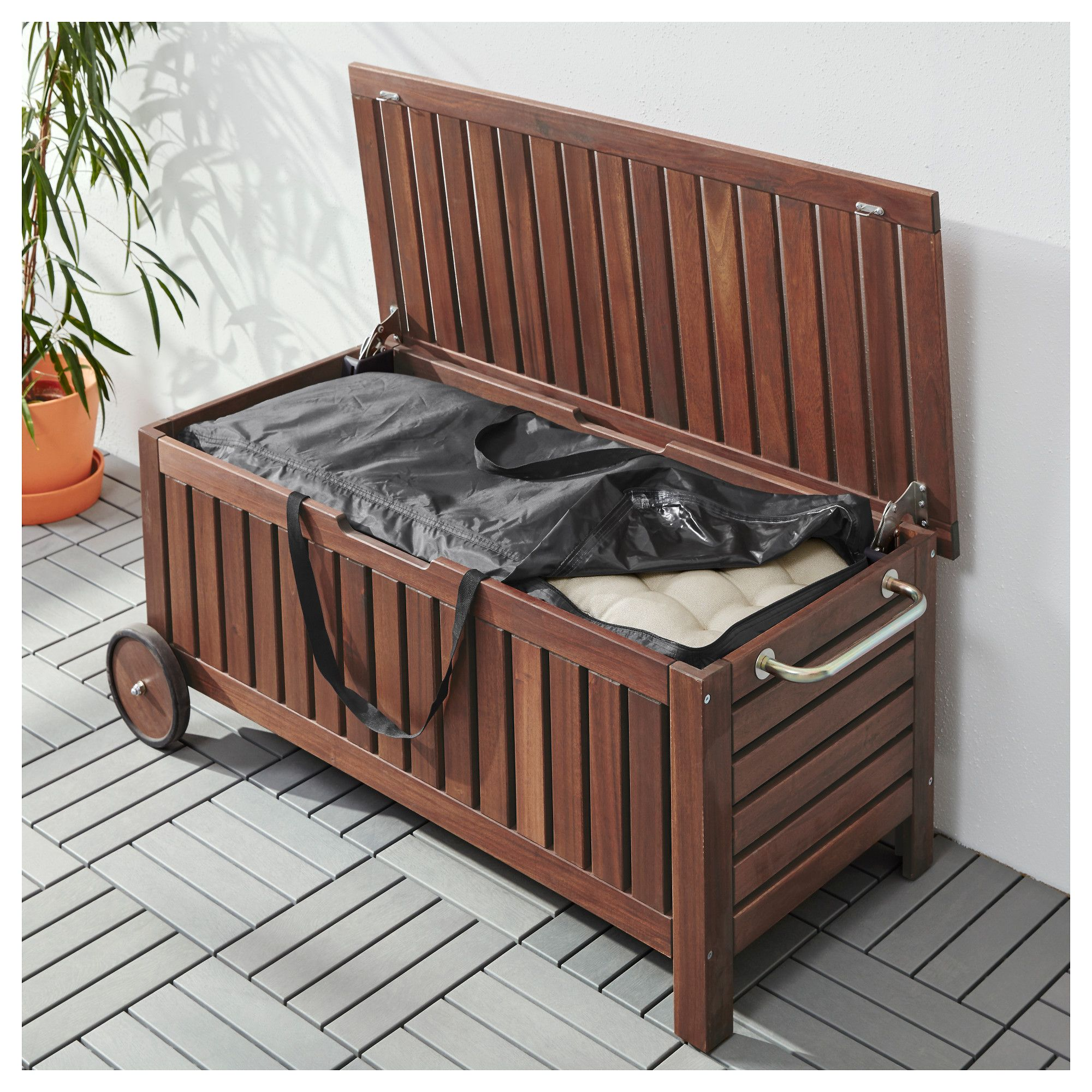 Balkonbank Ikea TosterÖ ÄpplarÖ Bench With Storage Bag Outdoor Brown Stained 128