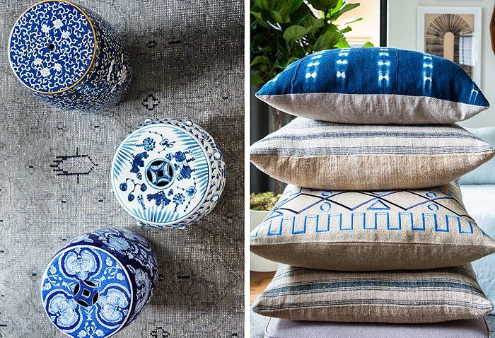 Our translation of Erica's love of blue-and-white for her living room makeover.