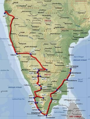 Travel route map around South India IndiaTravel attractionsTips