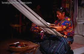 Hip loom weaver in Guatemala
