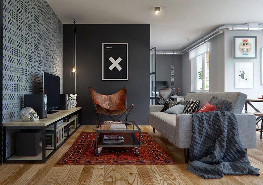 Incre ble departamento de estilo vintage industrial for Salones mezcla clasico moderno