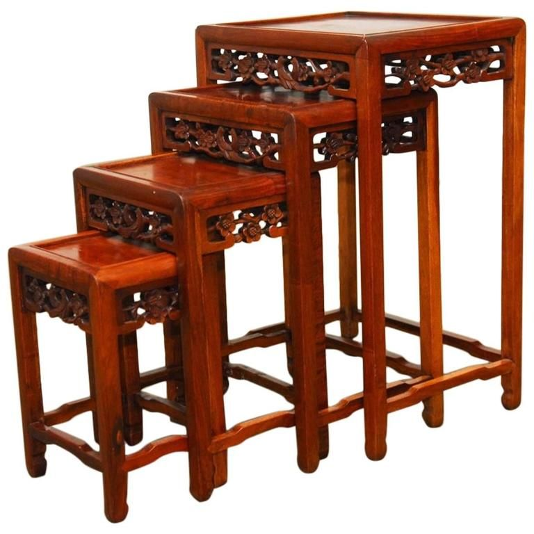 Superieur Nest Of Four Chinese Rosewood Stacking Tables