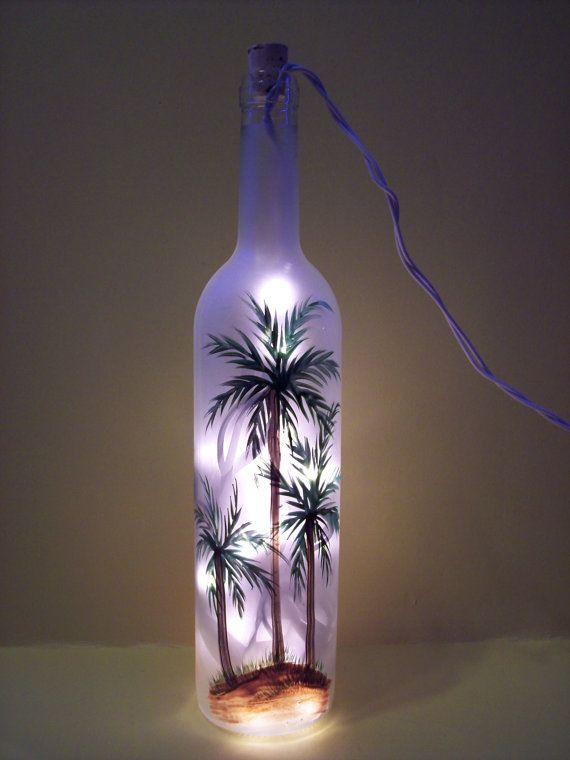 Palm tree lighted wine bottle by everythingpainted on etsy Painting old glass bottles