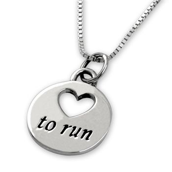 Sterling Silver Love To Run Necklace | Sterling Silver Running Necklace | Sterling Silver Running Jewelry
