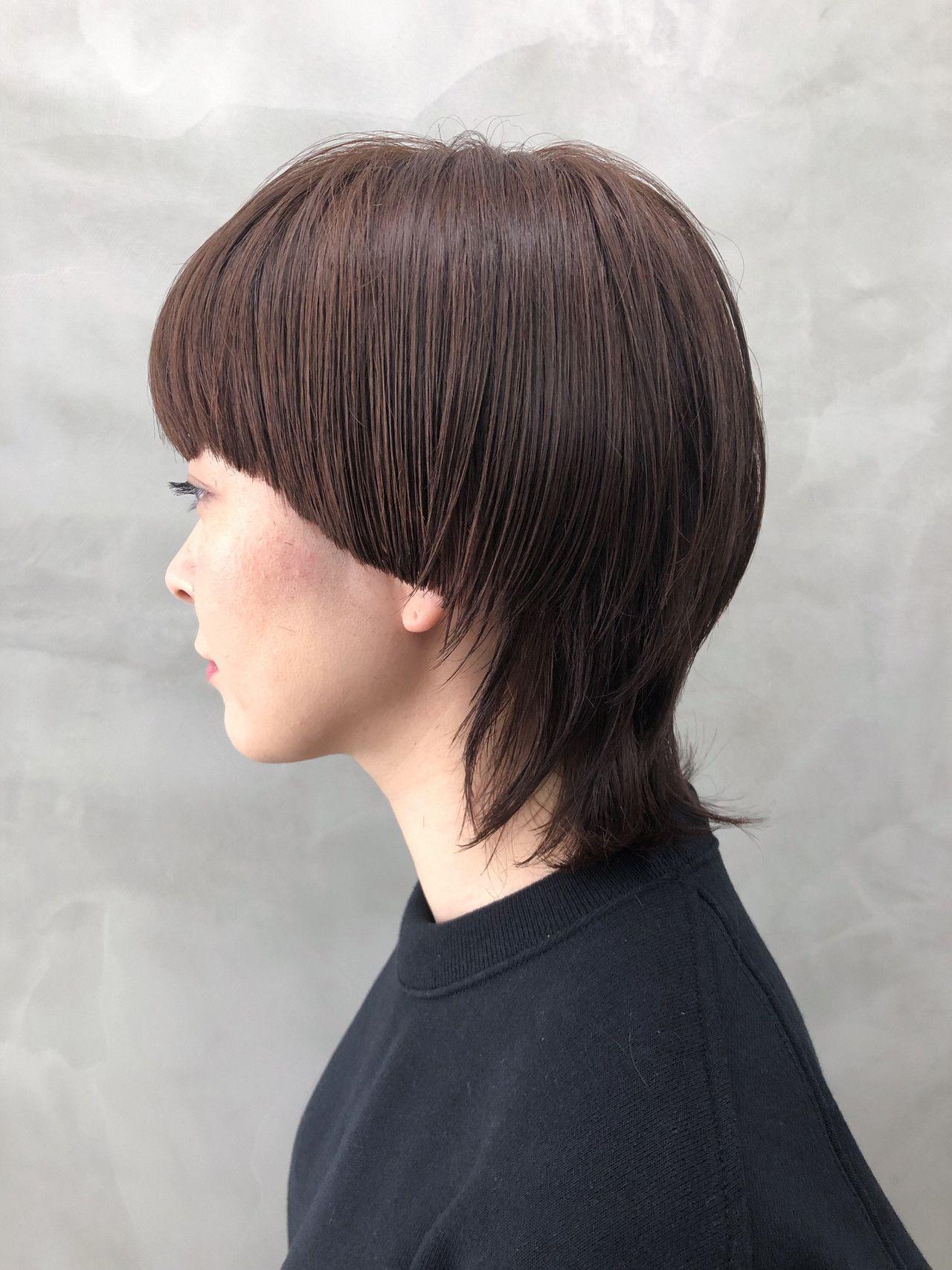 ブラウンベージュ ネオウルフ ショート ウルフカット ヘアスタイルや髪型の写真 画像 ヘアスタイル パーマヘアの女の子 ウルフ カット