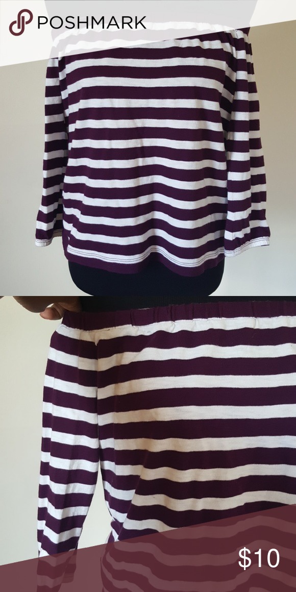296cf35ee1ead J. Crew Striped Off the Shoulder Top Size XXS good condition minimal signs  of use