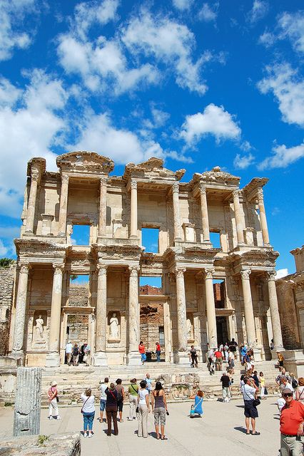 The library at Ephesus. I have a pic of myself standing in front of the third pillar from the right. If you can't walk where Jesus walked, walk where Paul walked.