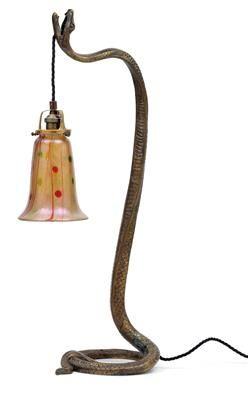 Table Lamp With Snake Foot And Bohemian Lampshade C 1925