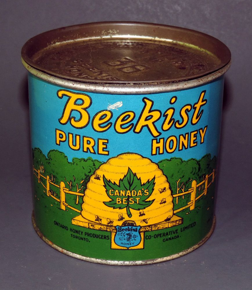 VTG SUPERB 1940's BEEKIST BLUE LABEL PURE HONEY 2 LBS TIN