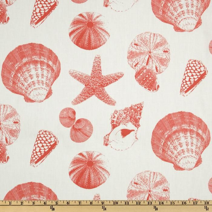 Coral Pattern Fabric premier prints shells white/coral (beach bag fabric?) | craft