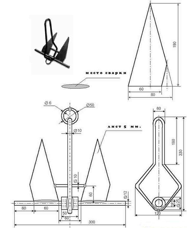 Как сделать якорь для лодки ПВХ своими руками, чертежи и ...