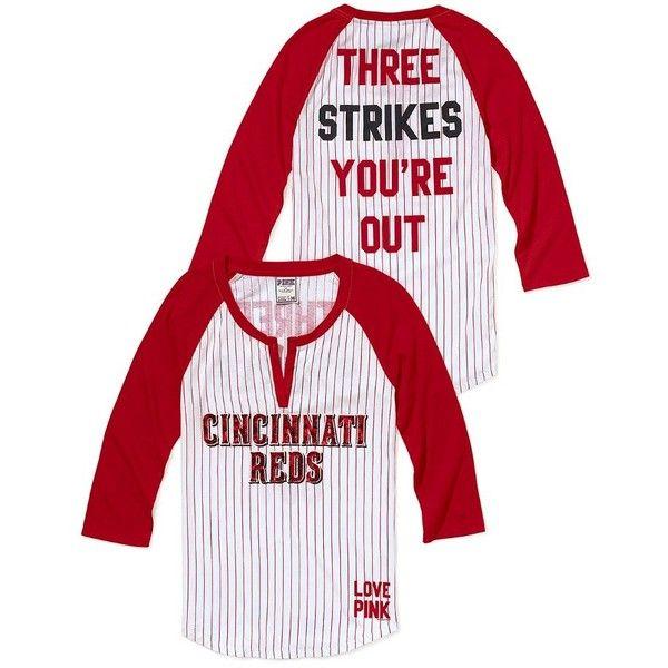 Victoria/'s Secret PINK Cincinnati Reds Jersey T-Shirt Henley Bling White Stripe