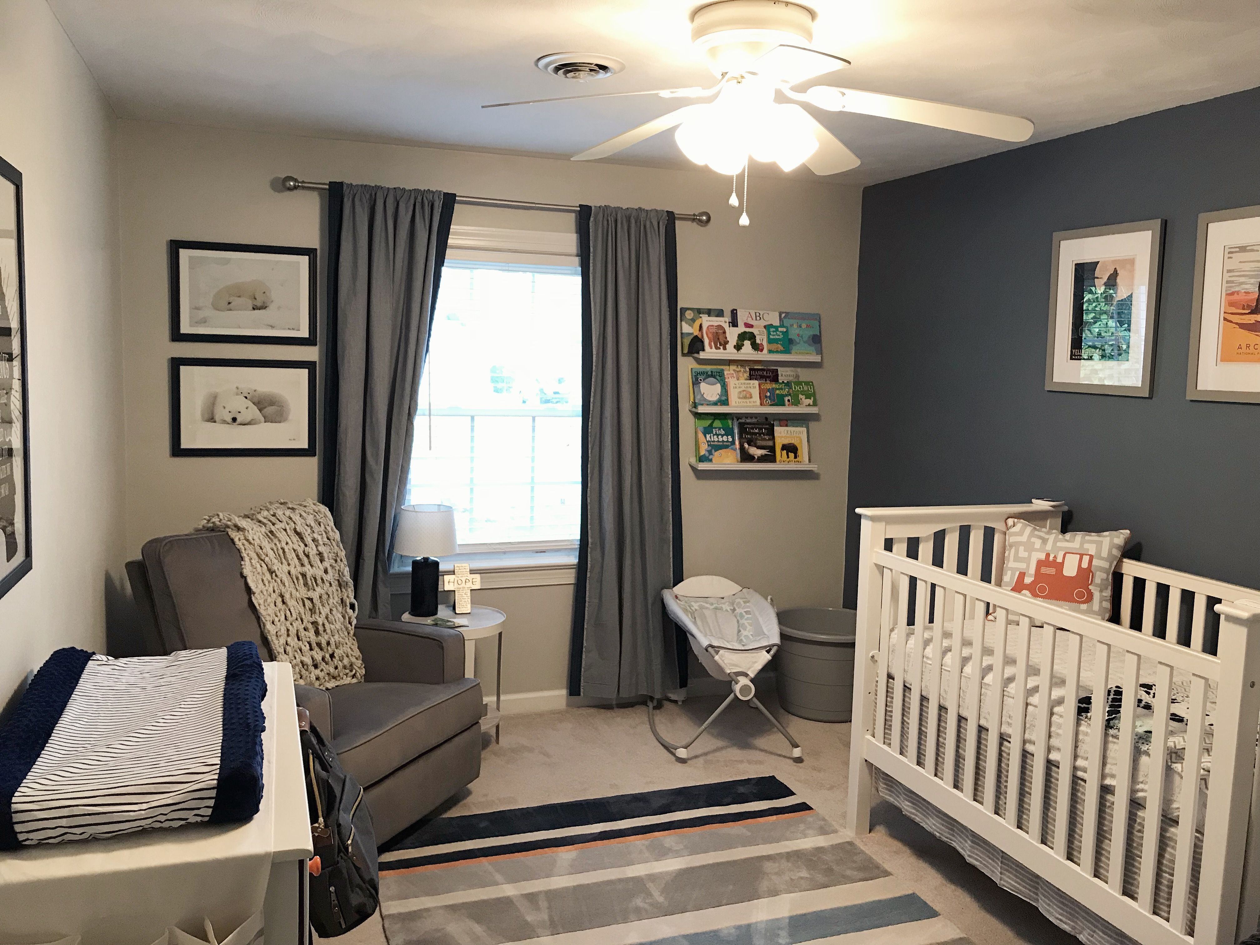 Phillipsburg Blue Accent Wall With Gray Owl Blue Accent Walls Grey Walls Owl Room