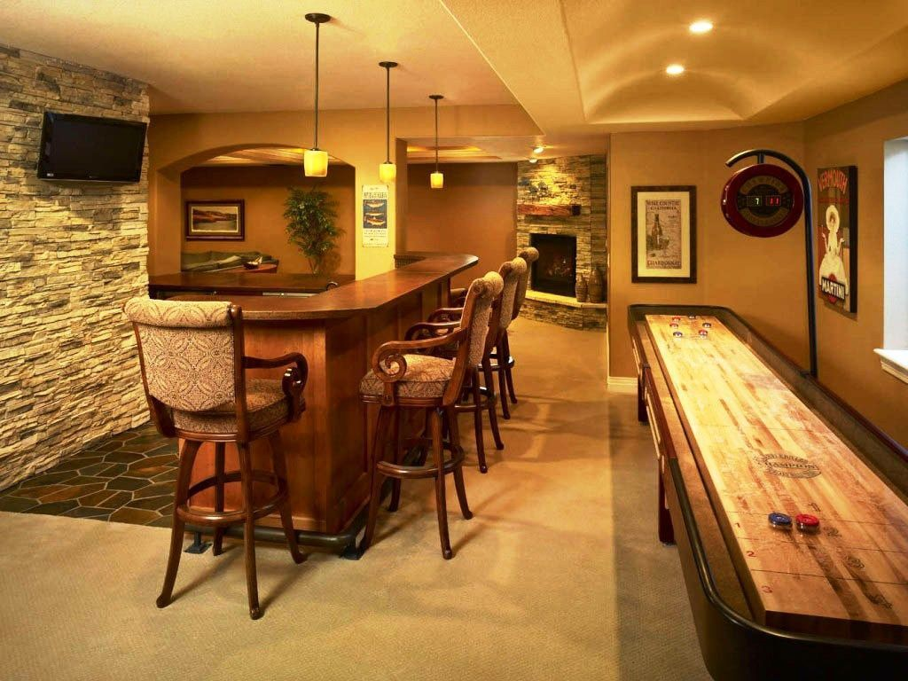 Basement: Unfinished Basement Bar Plans With Basement Bar Furniture Design  Like Basement Bar Table Used