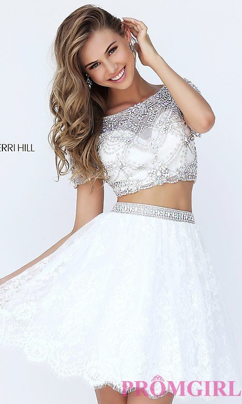 Short Two Piece Prom Dress with Short Sleeves | fancy lookin dresses ...