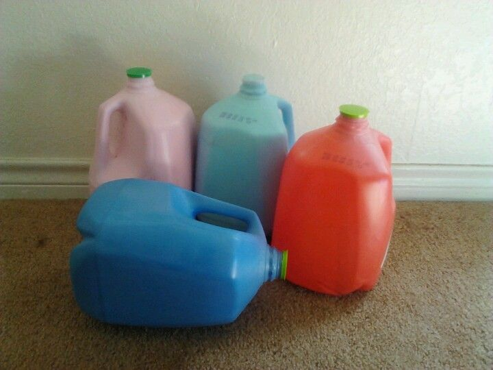These Are My 7 Month Old Babys Favorite Toys I Save Our Water And Milk Jugs When Were Finished With Them And Paint The Inside They Each Have Different