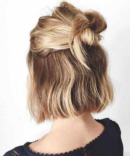 New Chin Length Half Updo Haircuts 2018 For Women Topknot Halfupstyle Haircut Hairbuns Updo Hairootd Hair Styles Short Hair Styles 5 Minute Hairstyles