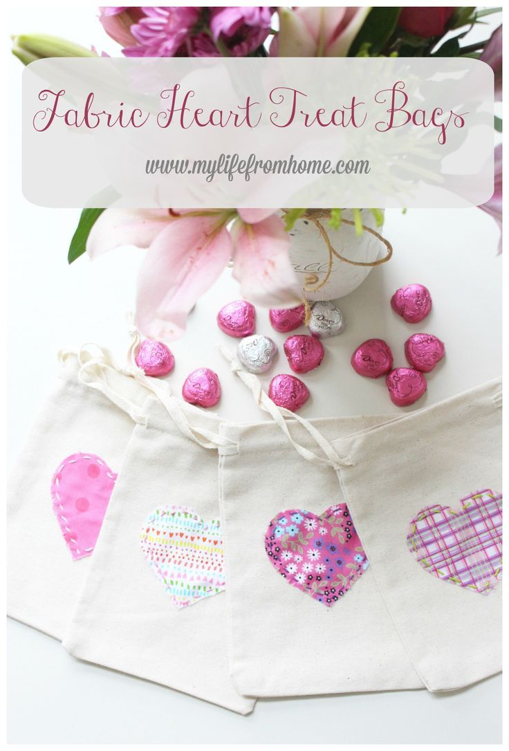 Fabric Heart Treat Bags - Easy sew fabric hearts to make cute goodie bags- goodie bags- Valentine's Day- sewing- crafts- fabric- projects with fabric