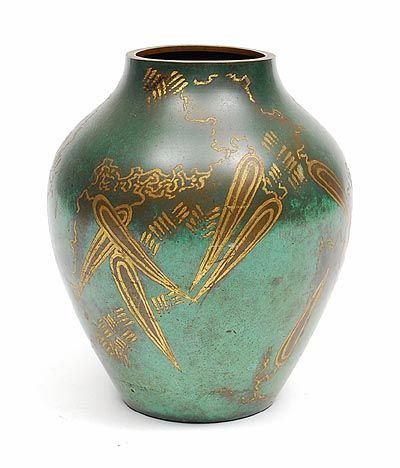 Brass Art Deco Ikora Vase With Green Patinated Surface And Gold Colored Decoration Executed By WMF Germany Ca1935