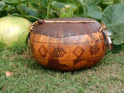Gourds Etc in eastern Oklahoma turns a garden vegetable into a work of Native American art.