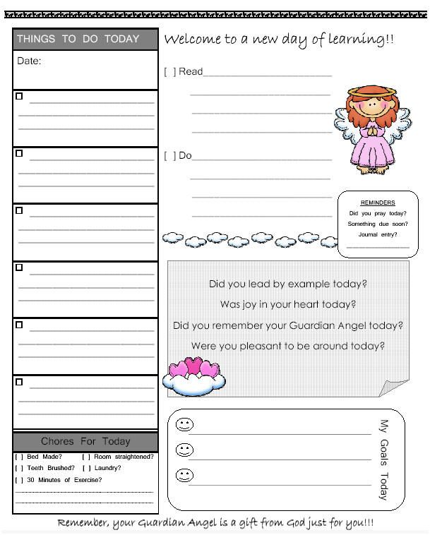 Great way to encourage independent work for young homeschooled - printable assignment sheet