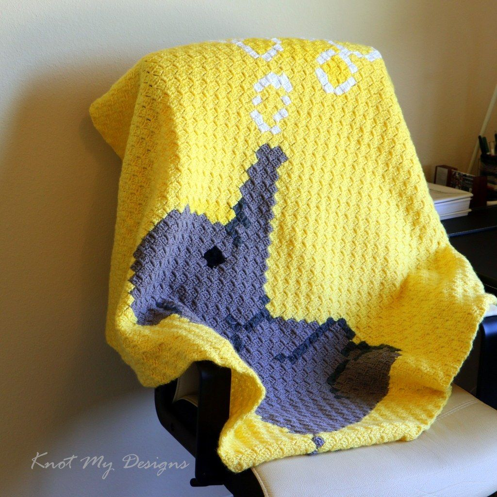 Elephant Blowing Bubbles Baby Blanket / Graphghan - Knot My Designs #babyblanket
