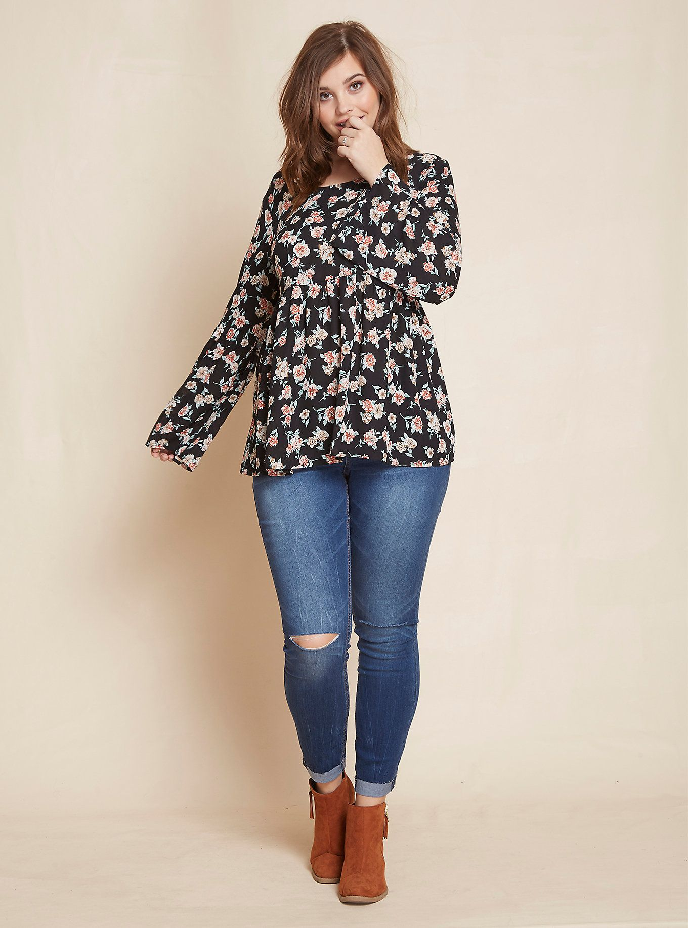 8abcb946939be Floral Print Bell Sleeve Tunic