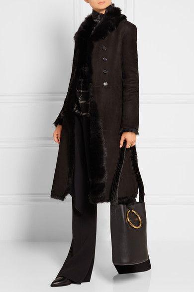 Black shearling Asymmetric button fastenings through front 100 ...