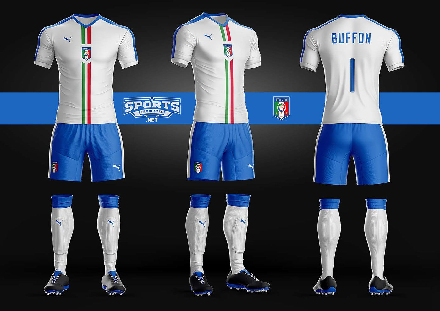 Download Italy Soccer Kit Uniform Template Puma | Soccer kits ...