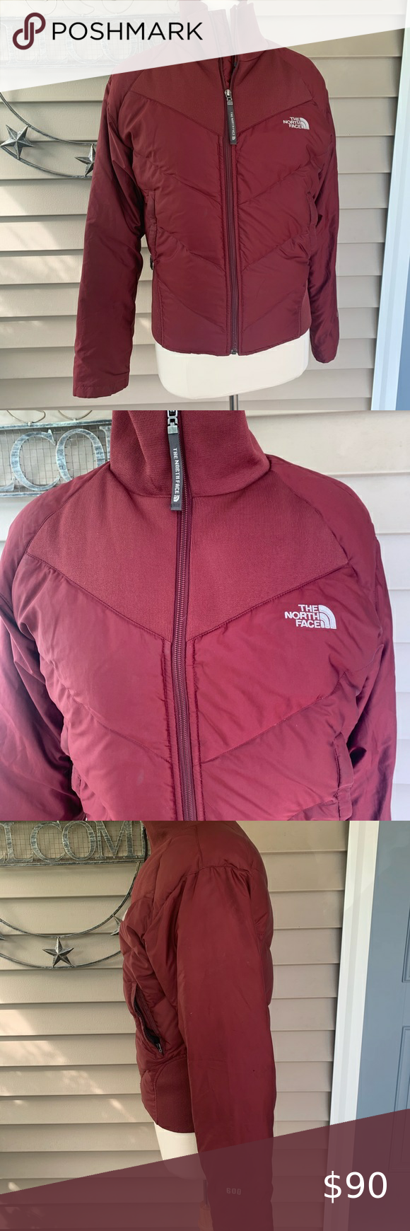 North Face Ski Puffer Jacket Great Used Condition Maroon In Color Minor Wear Marks One Teeny Tiny Pinhole Womens Puffer Vest North Face Puffer Jacket Fashion [ 1740 x 580 Pixel ]